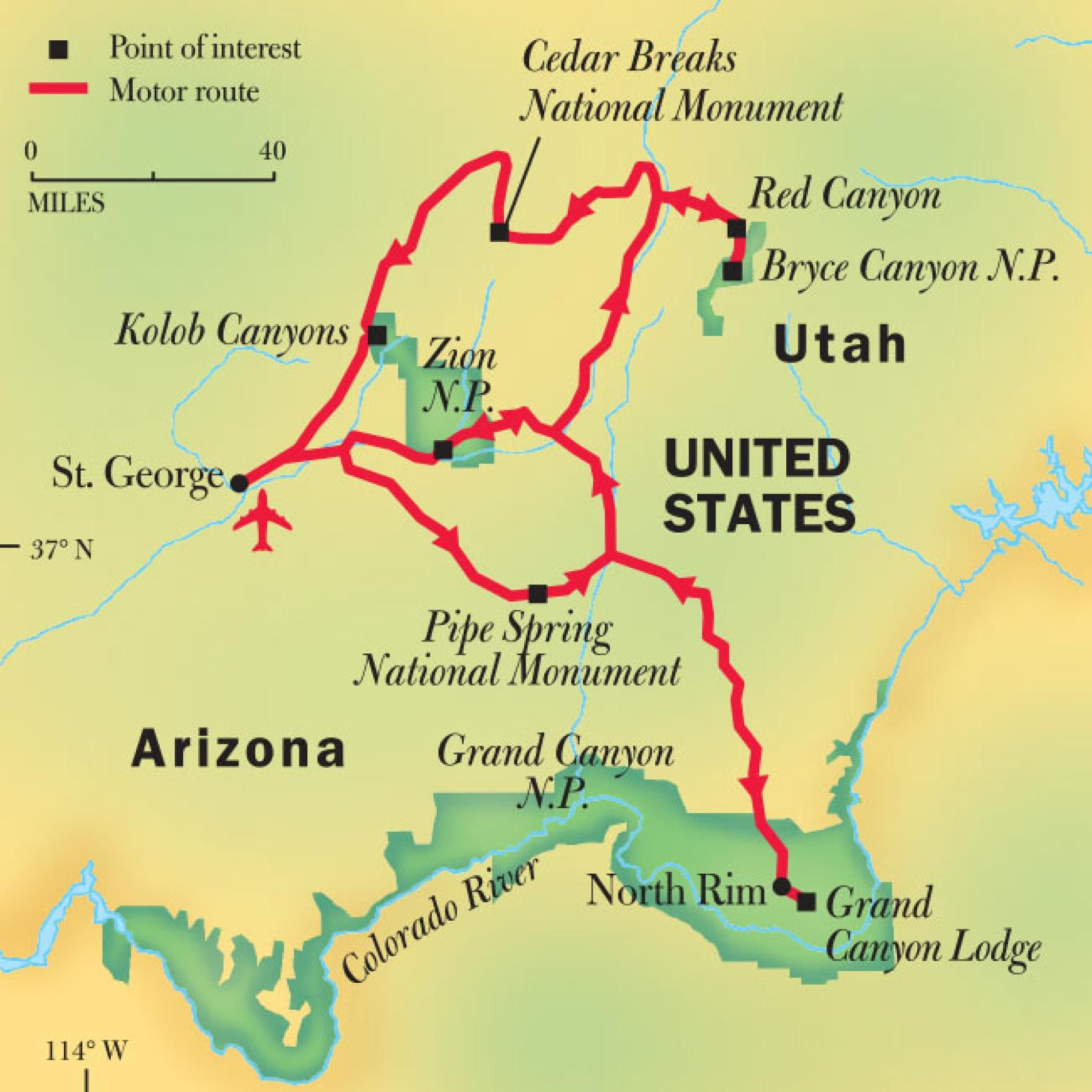Grand Canyon, Bryce, & Zion National Park Tours | National ... on united states route map, purple line route map, chicago route map, mt whitney route map, great lakes route map,