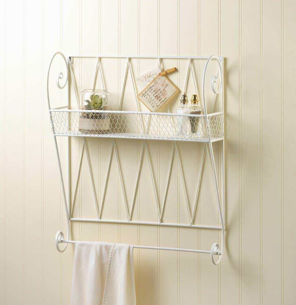White Metal Wall Hanging Shelf Bathroom Organizer Towel Bar Kitchen Spice Rack Unbranded Frenchcountry Wire Wall Shelf Wall Mounted Shelves Shelves