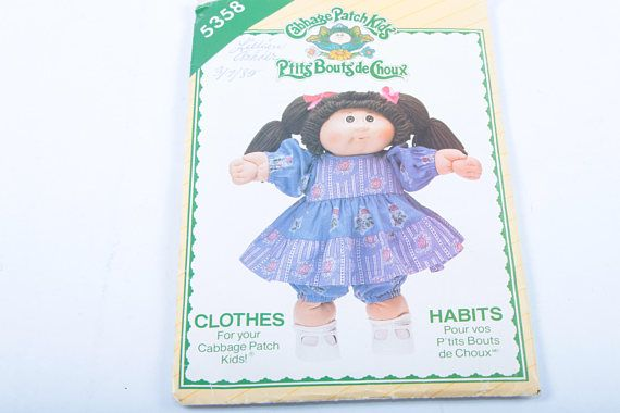 Dress Pattern Vintage Cabbage Patch Kids Doll Clothes Babydoll Dress And Panties Blue With Roses Puff Sleeves Boxed 161201 by ThePinkRoom
