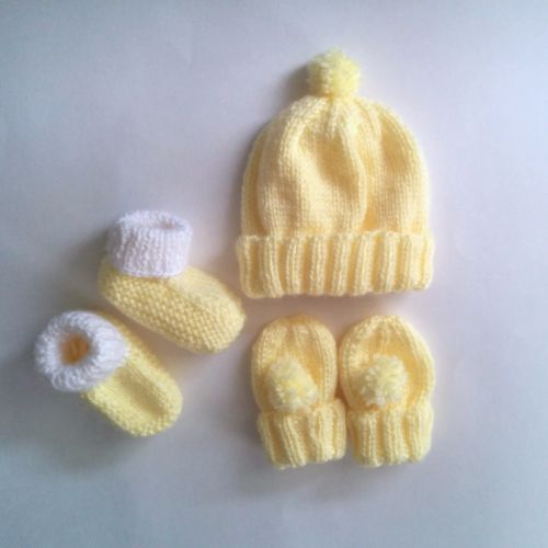 Hand-Knit-Newborn-Pom-Pom-Hat-Mitt-and-Booties-Set-in-Yellow-Free-Shipping