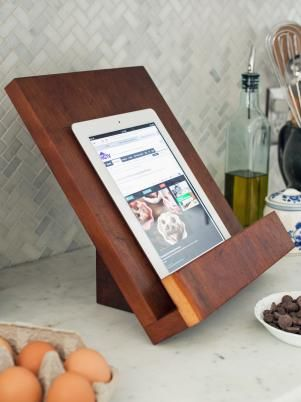 How To Make A Modern Tablet Or Cookbook Stand Cookbook Stand Diy Cook Book Stand Cookbook Holder