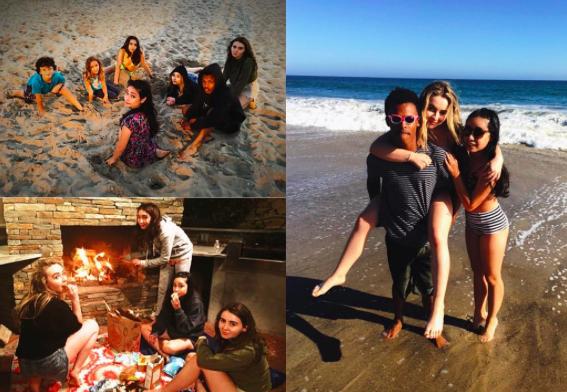 Sabrina Carpenter and Rowan Blanchard with their #GirlMeetsWorld costars