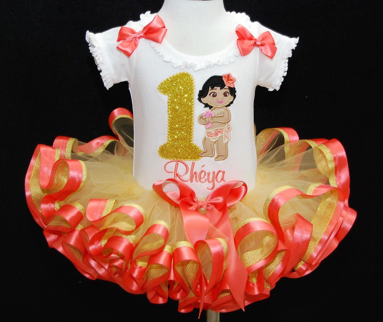 Baby Moana 1st Birthday Sparkle Tutu Outfit
