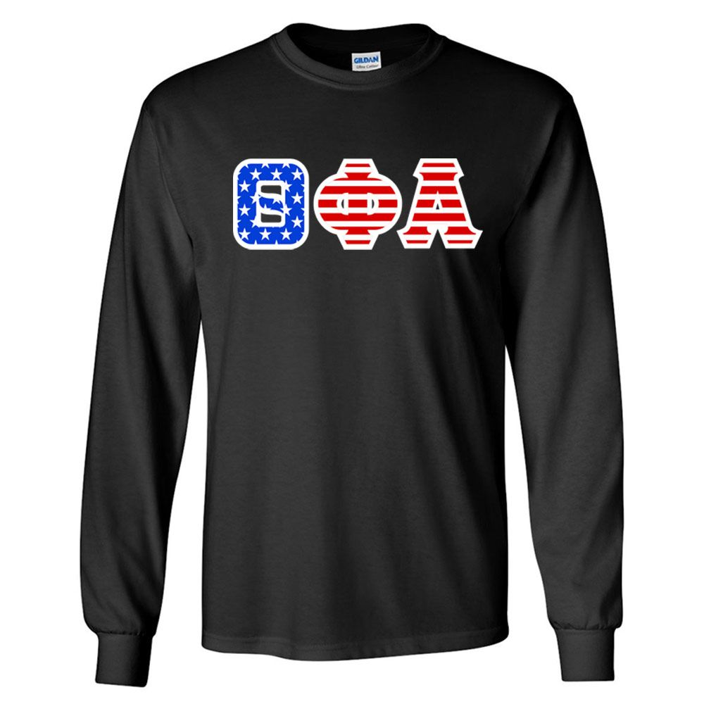 Theta Phi Alpha Greek Letter American Flag long sleeve tee from GreekGear.com
