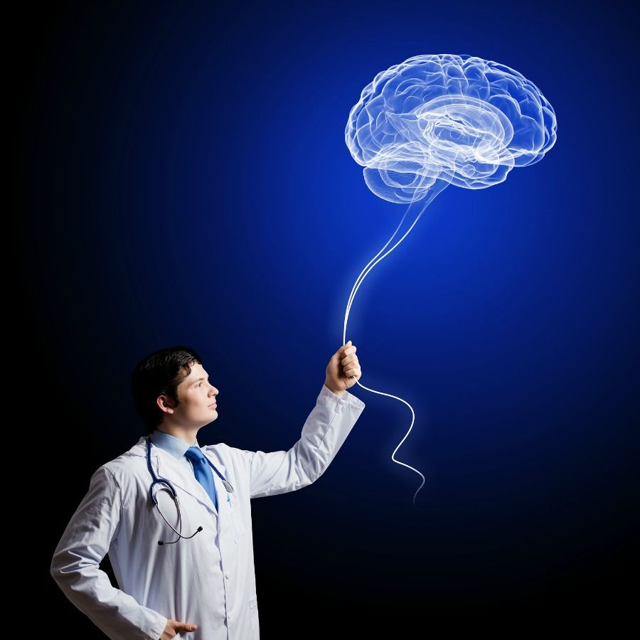 Neurologist With Image Of The Brain Neurologists Study Disease
