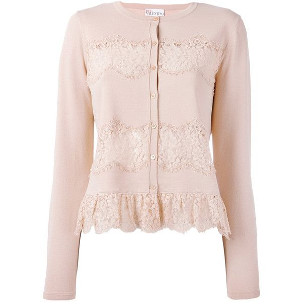 Red Valentino lace applique cardigan ($550) ❤ liked on Polyvore ...