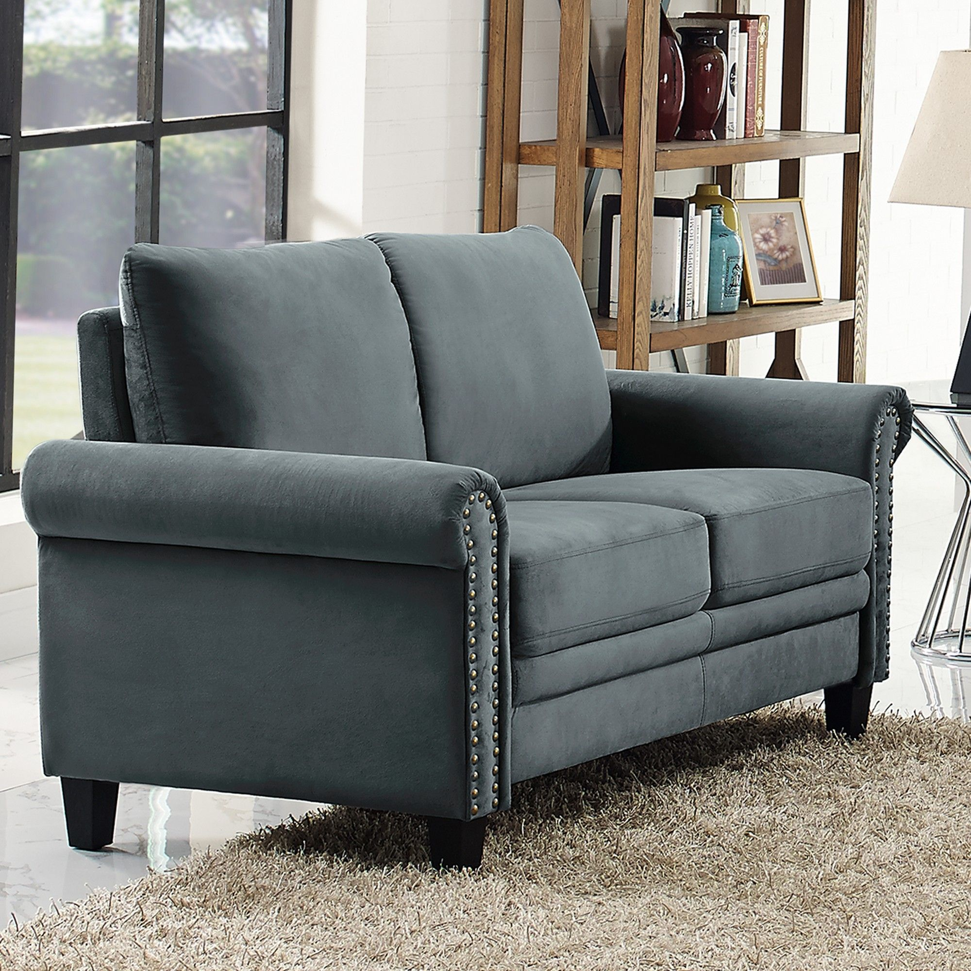 Awe Inspiring Averton Microfiber Upholstery Loveseat With Nailhead Ibusinesslaw Wood Chair Design Ideas Ibusinesslaworg