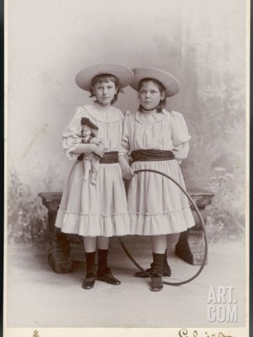 Girls and Hoop, 1890s Photographic Print