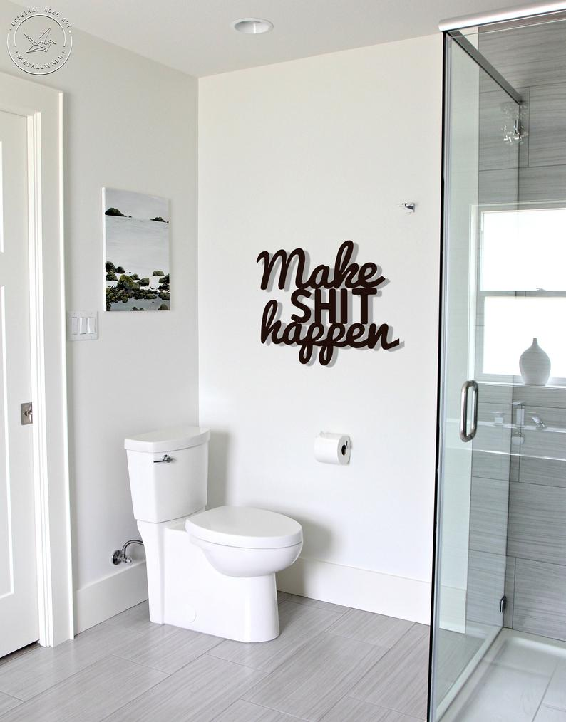 Make Shit Happen Metal Letters Wall Art Bathroom Wall Art Etsy In 2020 Bathroom Wall Art Metal Letter Wall Art Bathroom Wall Decor