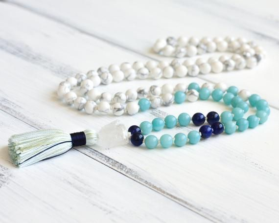 Howlite Mala Necklace Amazonite Mala Beads 108 Prayer Beads Boho