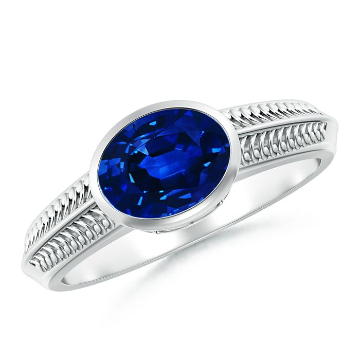 Angara Tapered Shank Sapphire Solitaire Ring With Diamond Accents HOTxhxStV