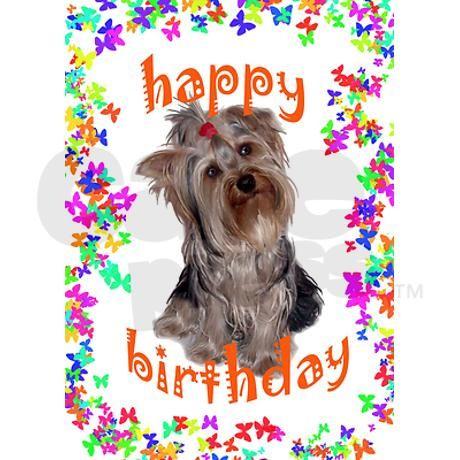 Yorkie Birthday Greeting Card Yorkie Birthday Greeting Card By Dog Daze Cafepress Dog Birthday Wishes Animated Happy Birthday Wishes Yorkie