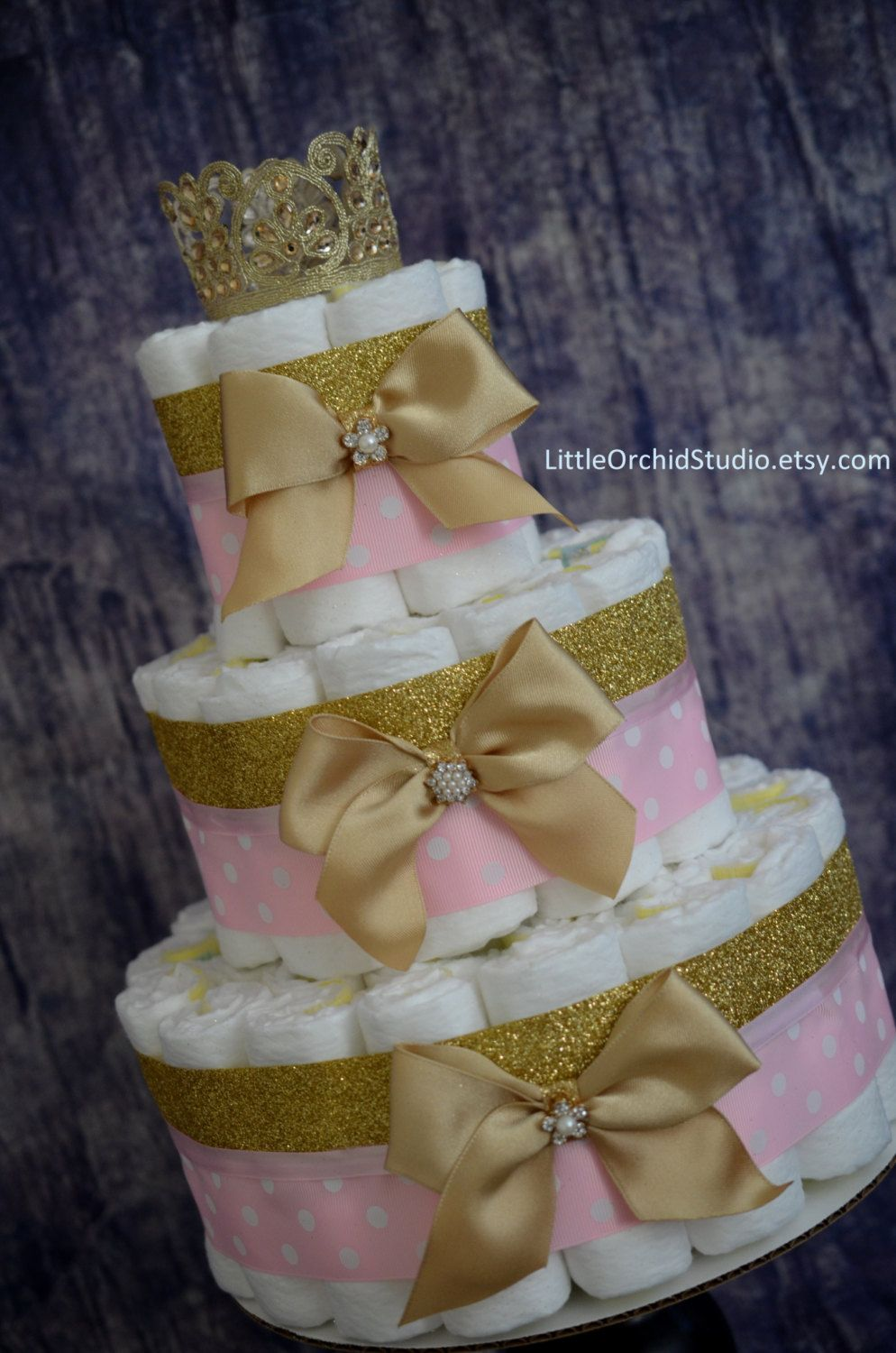 Pink And Gold Baby Shower Princess Diaper Cake Unique Diaper