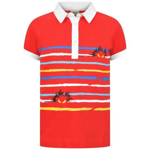 Fendi Boys Red Striped Bag Bug Polo Top