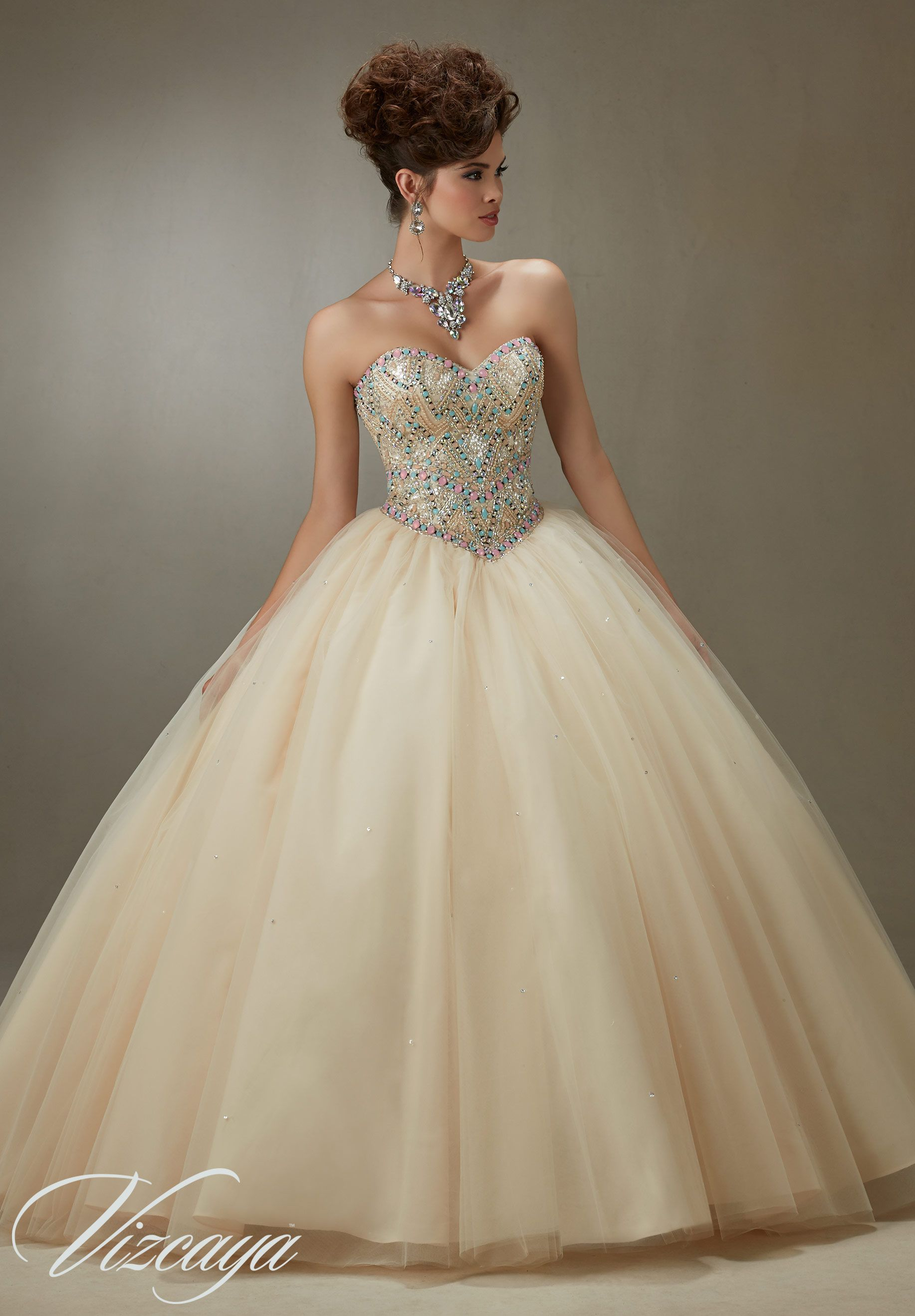 Quinceanera Dress 89076 Sugar Coated Stones on a Tulle Ball Gown ...