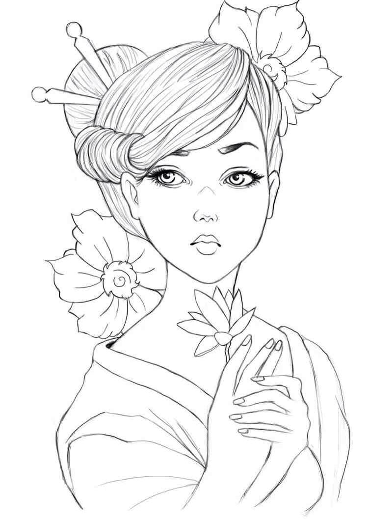 Tattoo Line Drawing Books : Geisha colouring page asian coloring pages pinterest