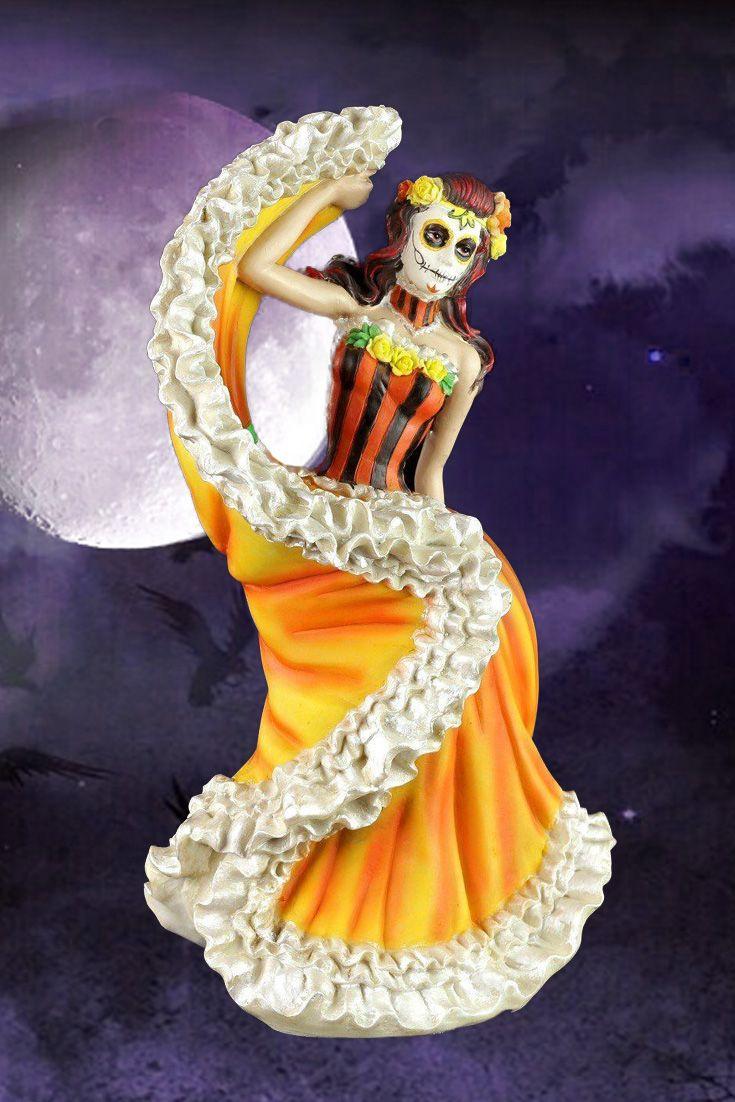 Flamenco Tänzerin - Day of the Dead - Orange | Das leben feiern, Der ...