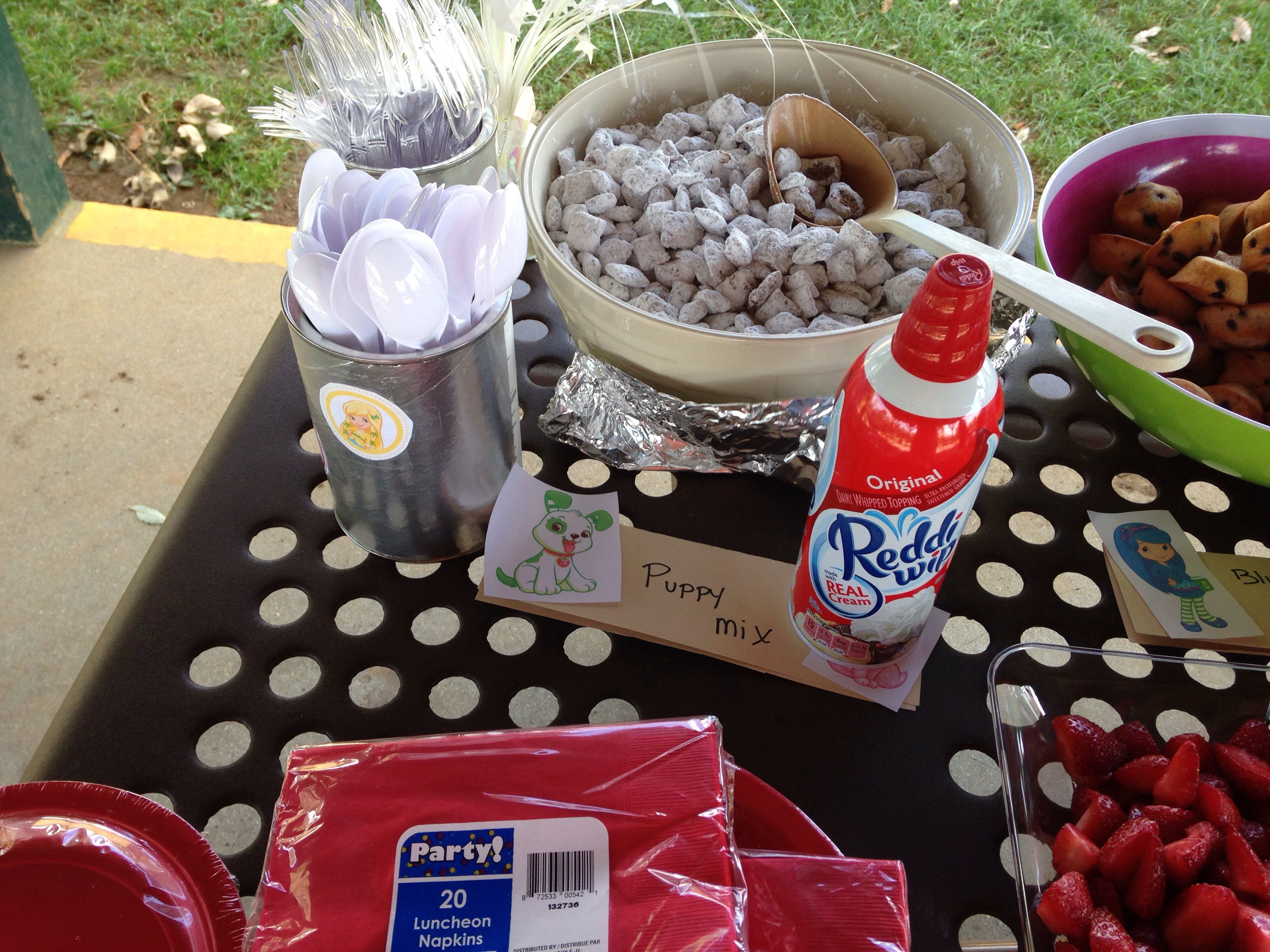 Strawberry shortcake party Food puppy chow to represent