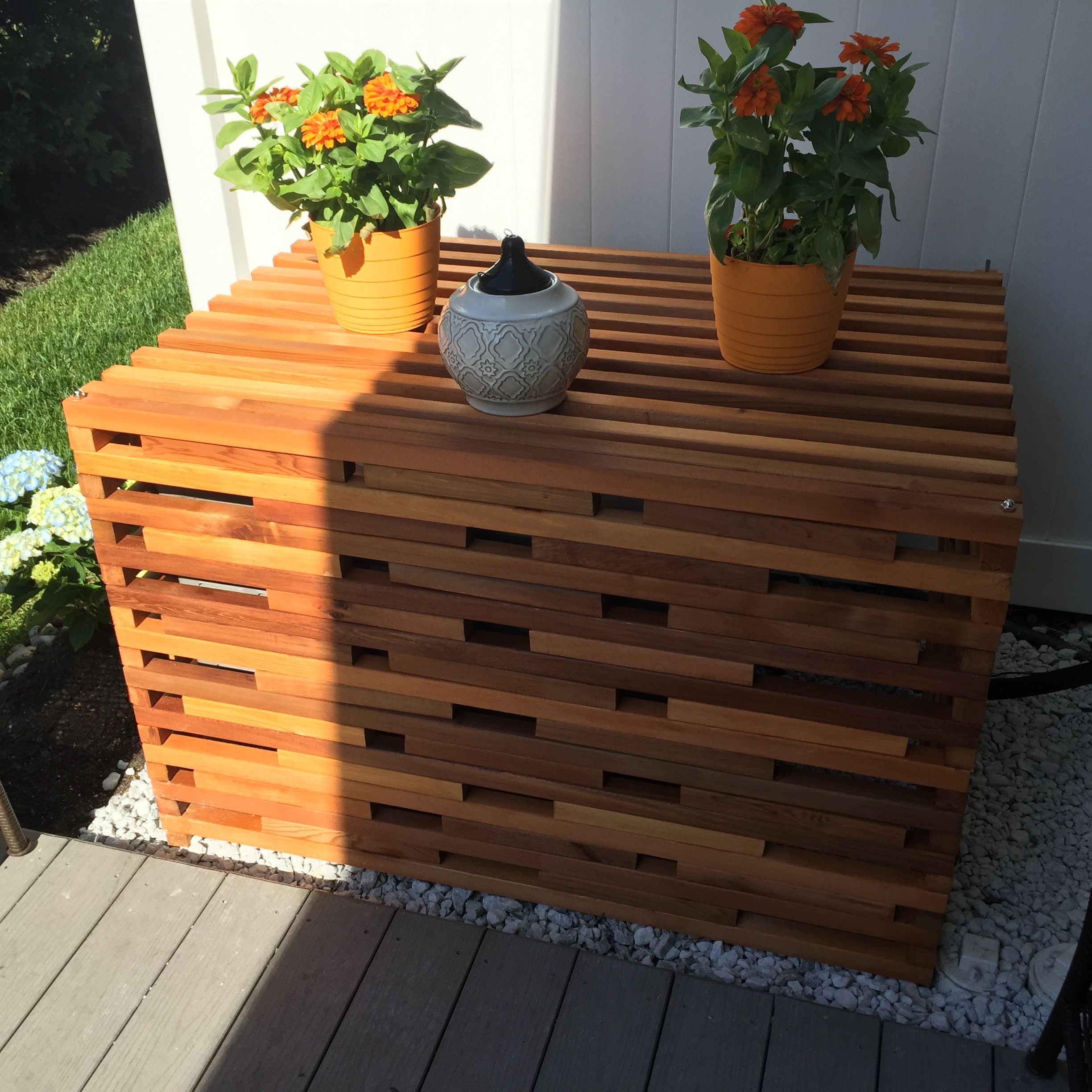 Cedar air conditioner cover | Decks | Pinterest | Air conditioner ...
