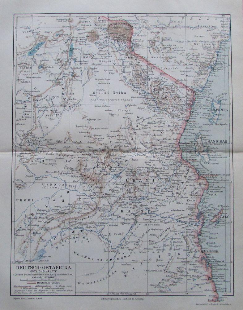 Details Zu Deutsch Ostafrika Afrika 1894 Alte Landkarte Karte