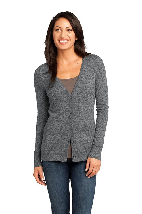 Ladies Cardigan Sweater - Pockets, knit cuffs | Rib knit and Cotton