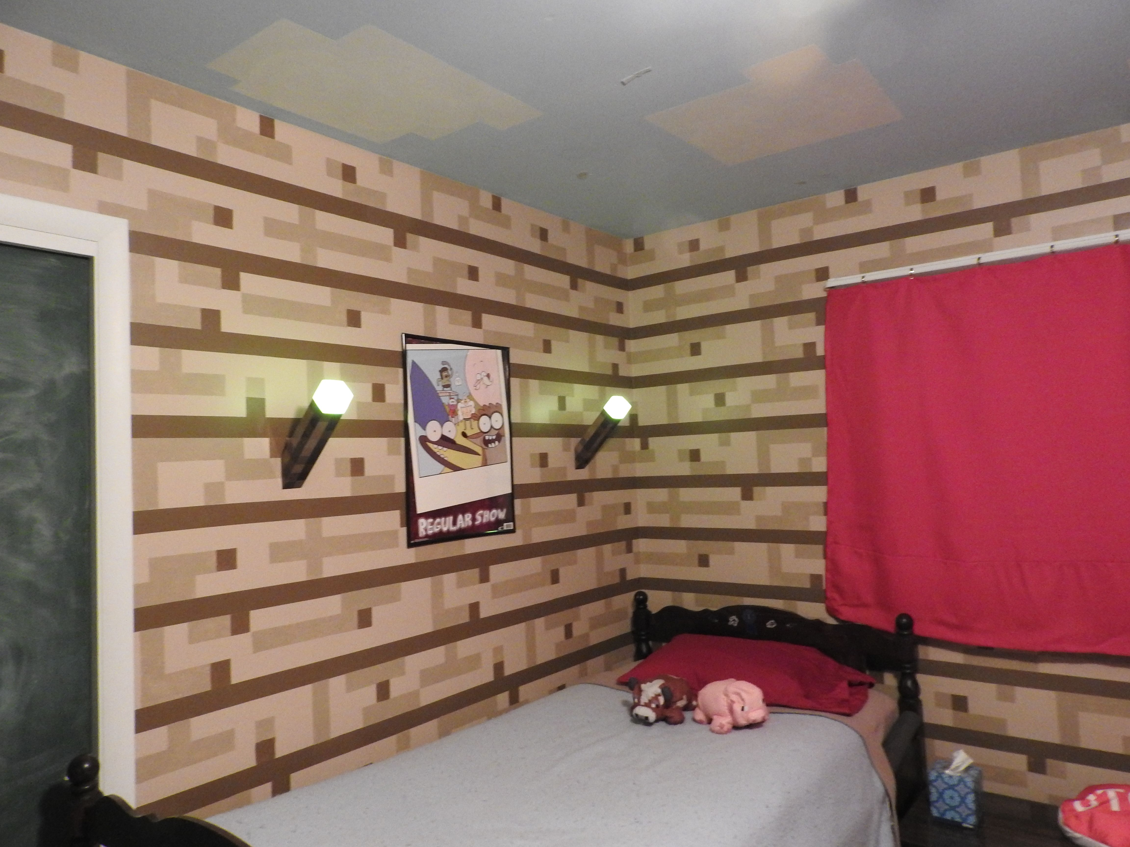 Minecraft Bedroom I Did For My Son! Hand Painted Walls Using Several  Stencils That I Designed.
