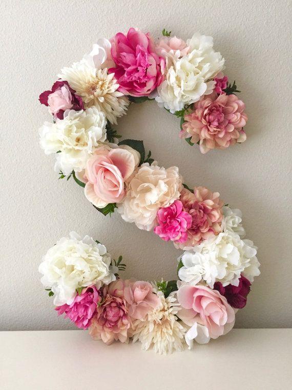 Floral Letter 15 19 24 Large Flower Letter Floral Initial