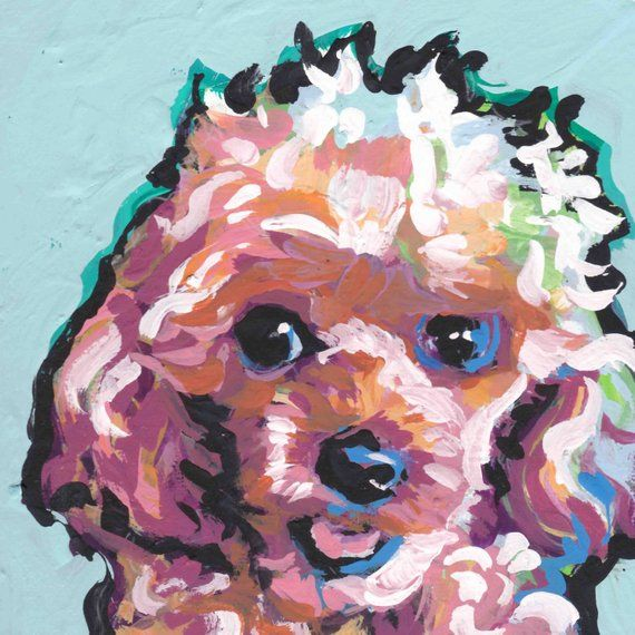 Toy Poodle Print Of Pop Art Dog Painting Bright Colors 8x8 Dog