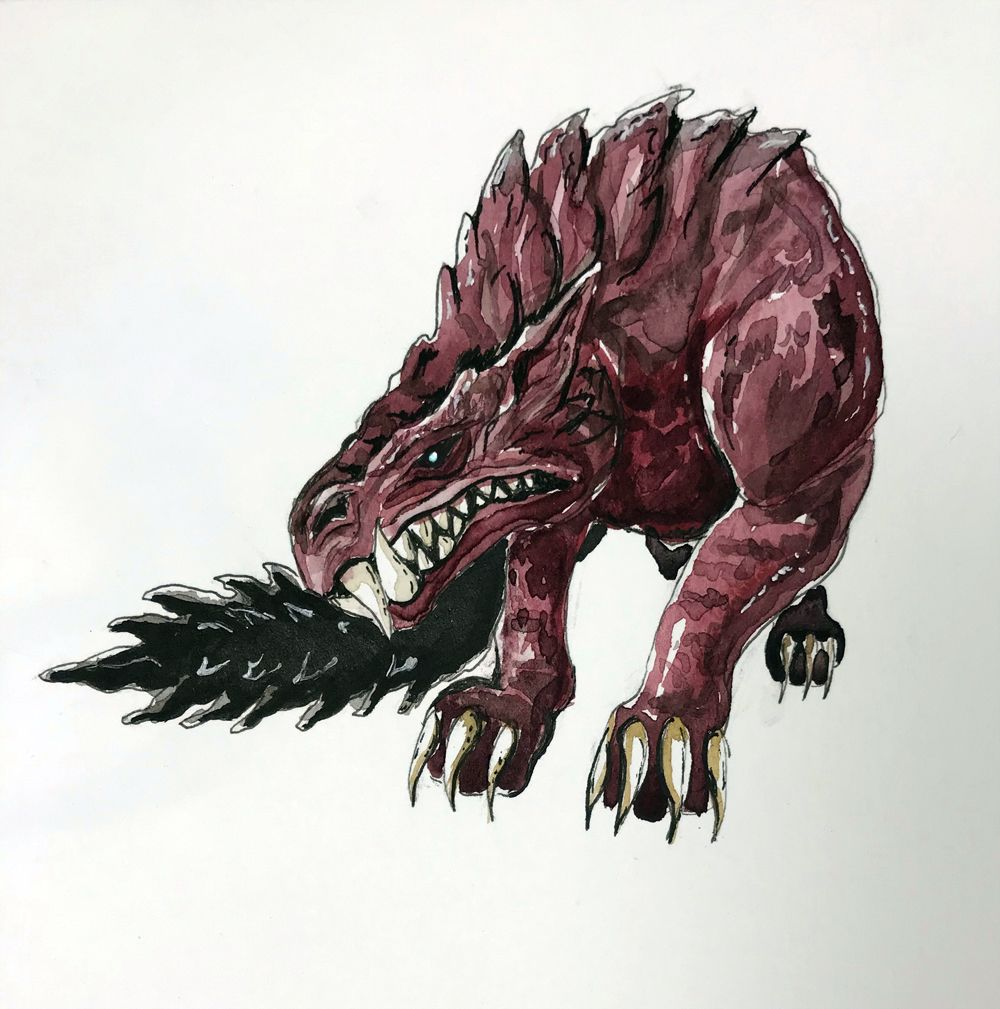 Watercolr Painting Of The Rage Doggo Odogaron From Monster Hunter