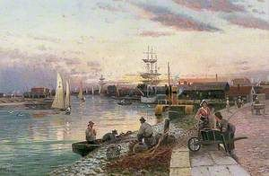 Fishermen beside a River Mouth