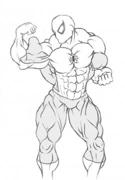 Buff Guy Drawing : drawing, Spiderman, Drawing, Muscle., Getdrawings, Drawing,, Guys,, Human, Anatomy