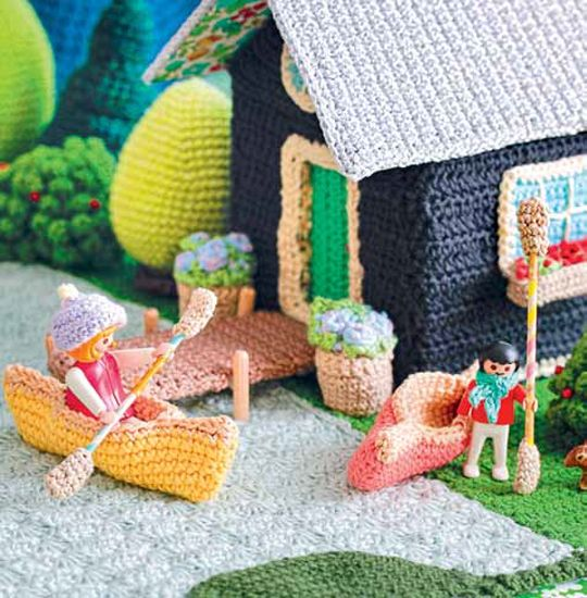 Lets Go Camping Crochet Patterns - Lakeside Cabin Canoe Oars Dock ...