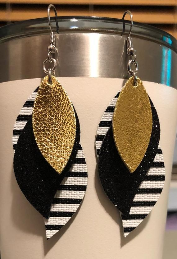 Photo of Black White Black Glitter Gold Dangle Drop Faux Leather Earrings Layered