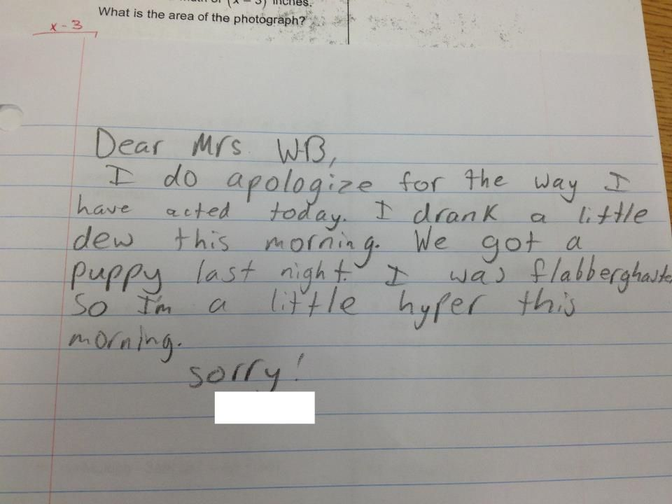 LOL! We love this adorable apology note When was the last time - apology letter to school