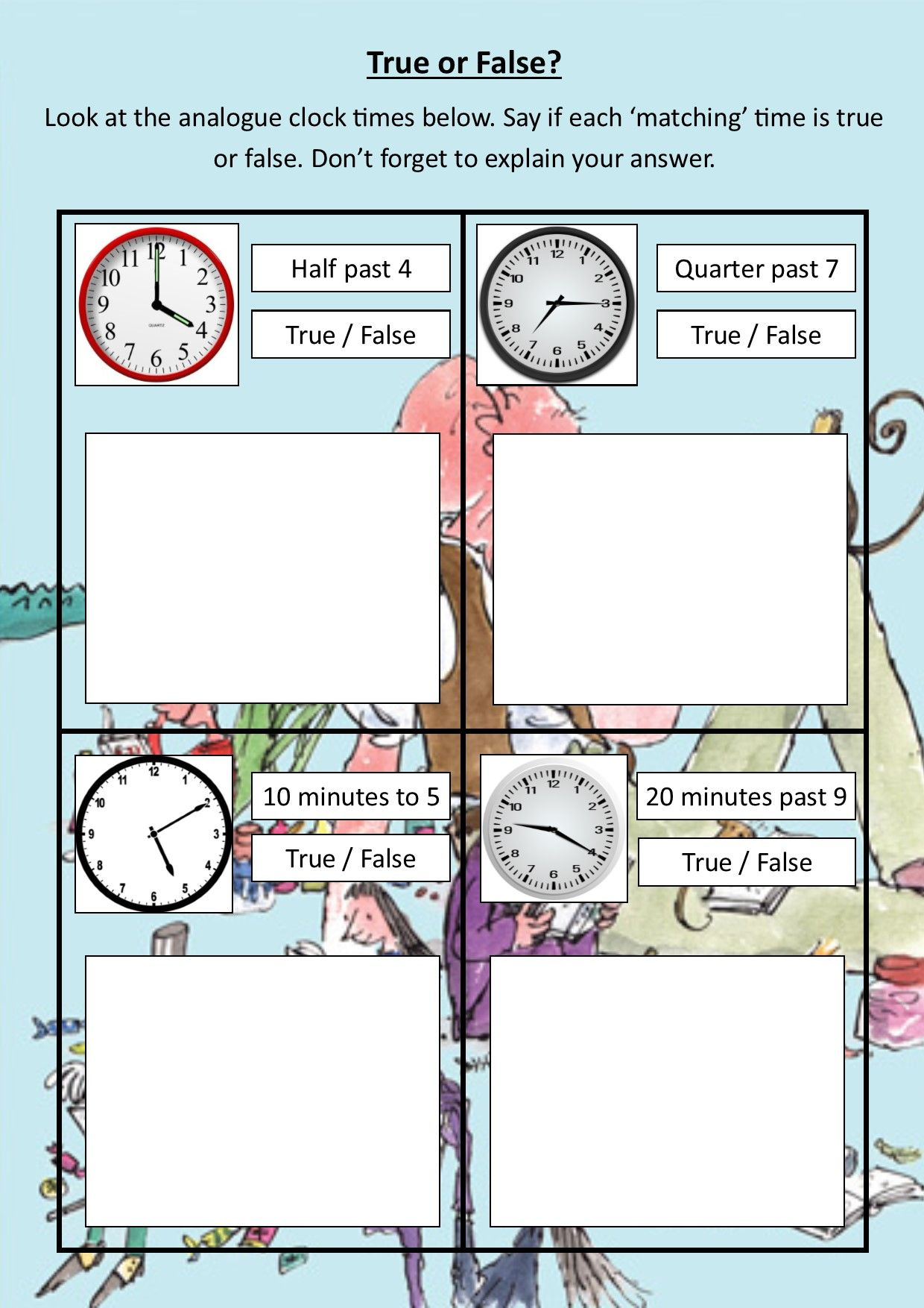 Roald Dahl Time Sheet 2