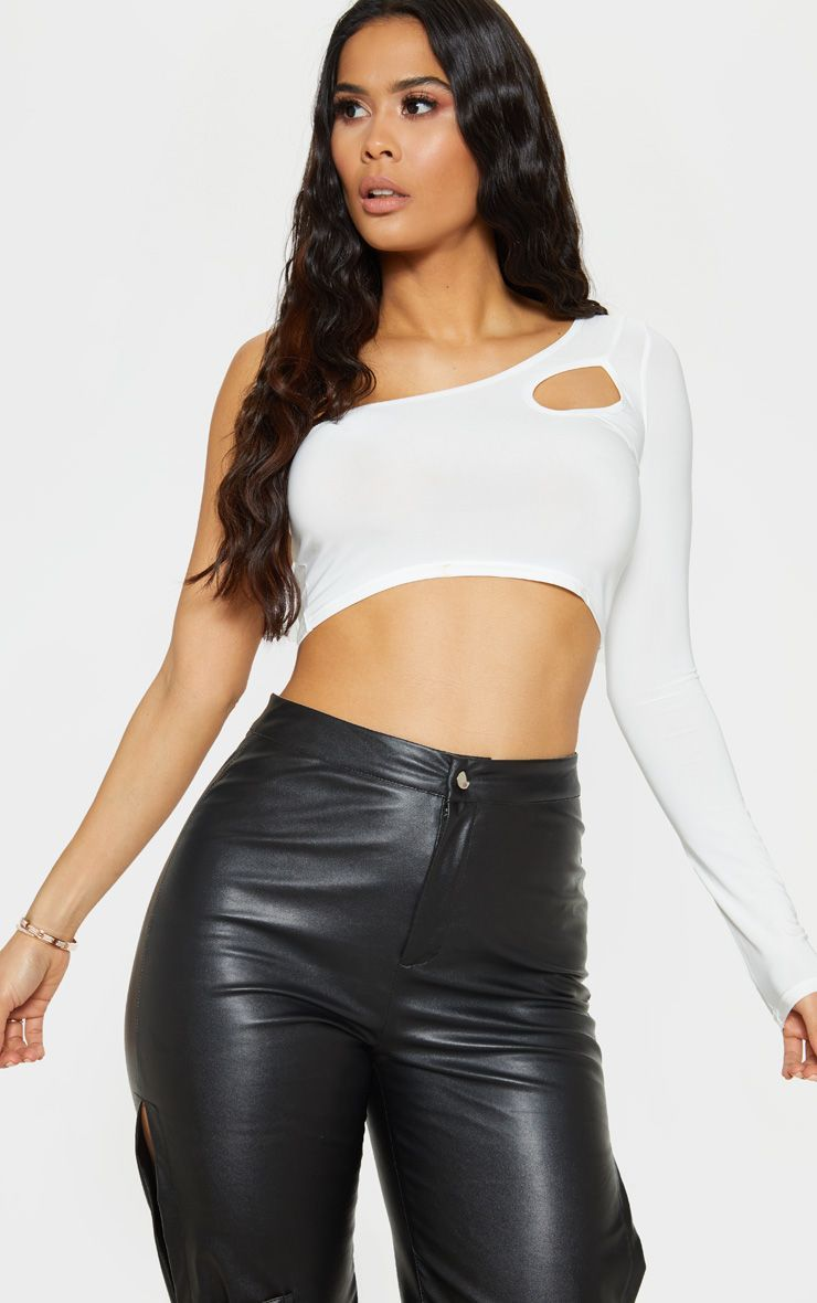 95f16aab08afa3 White Slinky Cut Out Crop Top in 2019 | Products | Crop tops, Tops ...