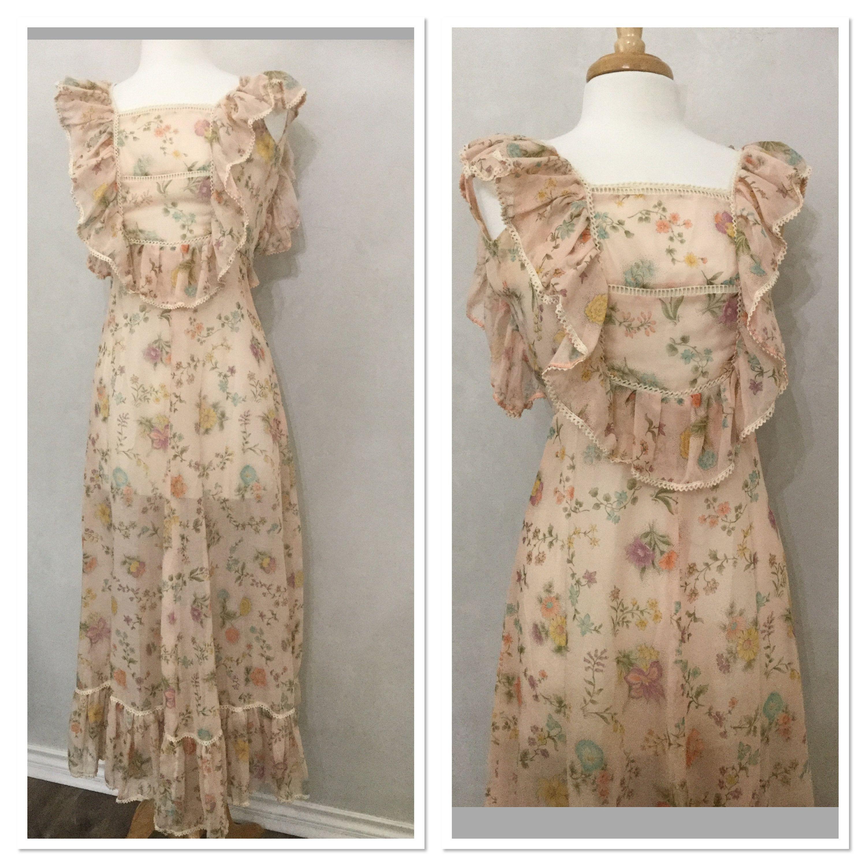 Vintage 60s 70s Sheer Beige Floral Maxi Dress Boho Day Etsy Floral Maxi Floral Maxi Dress Maxi Dress [ 3000 x 3000 Pixel ]