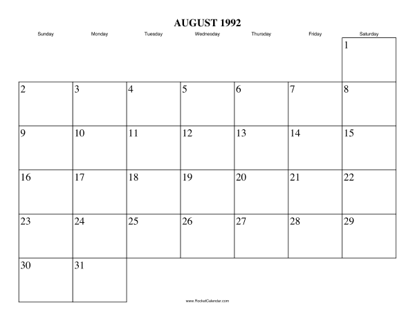 Free Printable Calendar For August 1992 View Online Or Print In Pdf