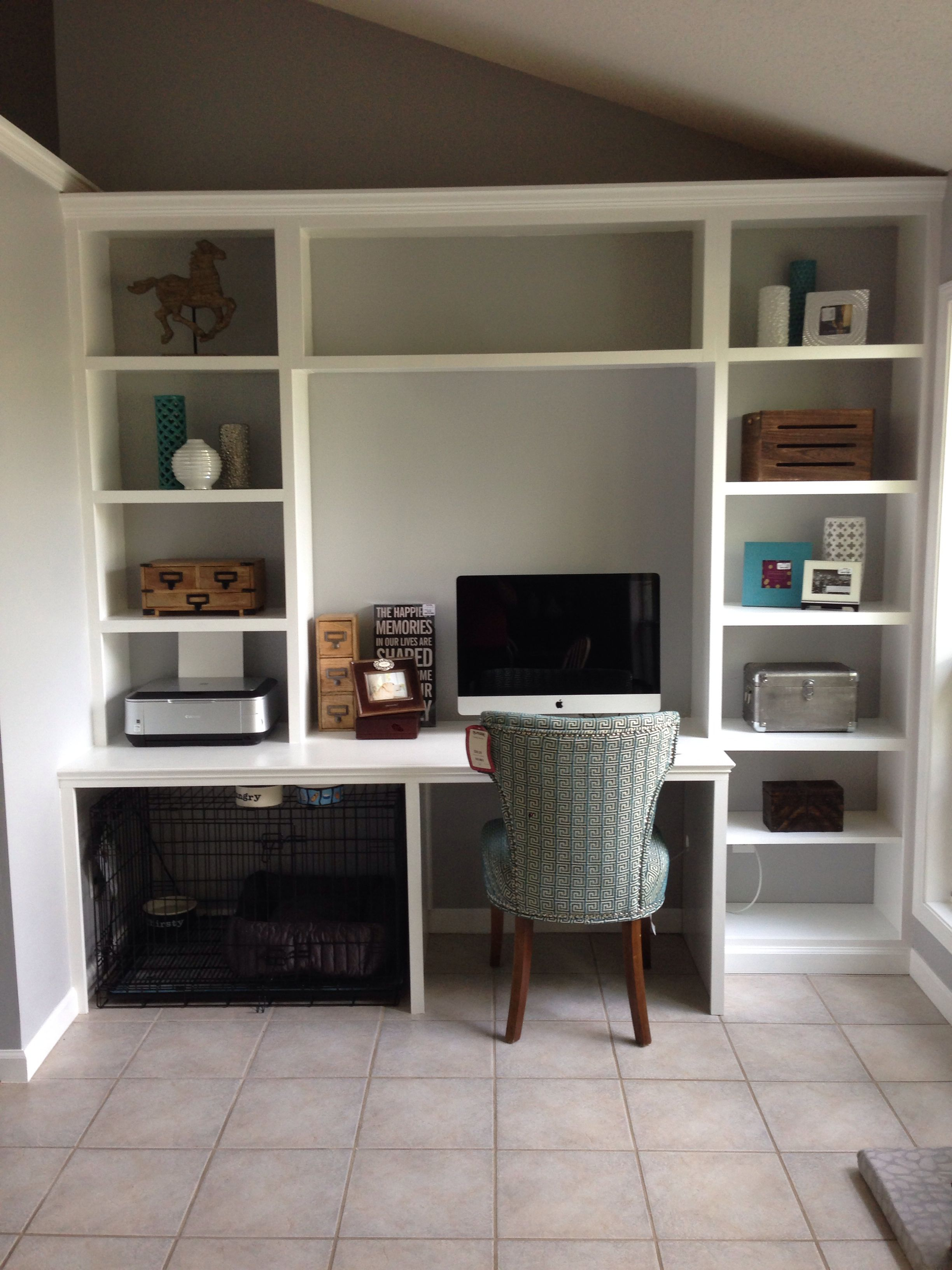 Built-in desk unit with space for the dog crate!! | Great Design ...