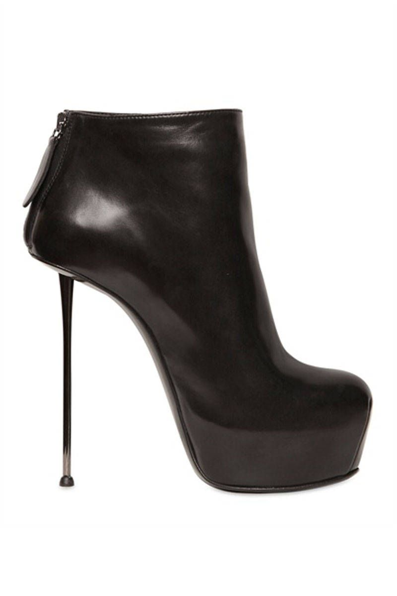 Gianmarco Lorenzi Black Stiletto Spike-Heeled Booties $974 #GML #Lorenzis #Shoes #heels #Boots