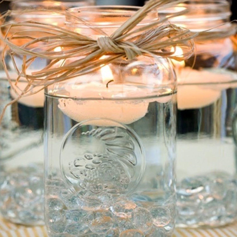 Diy mason jar floating candles recipe jars centerpieces and