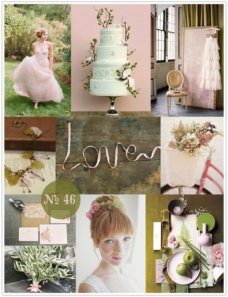 Petal pink and olive green and pink wedding olive
