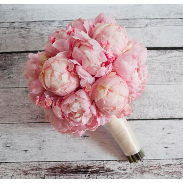 Wedding Bouquet Pink Peony and Cherry Blossom Bouquet ($130 ...
