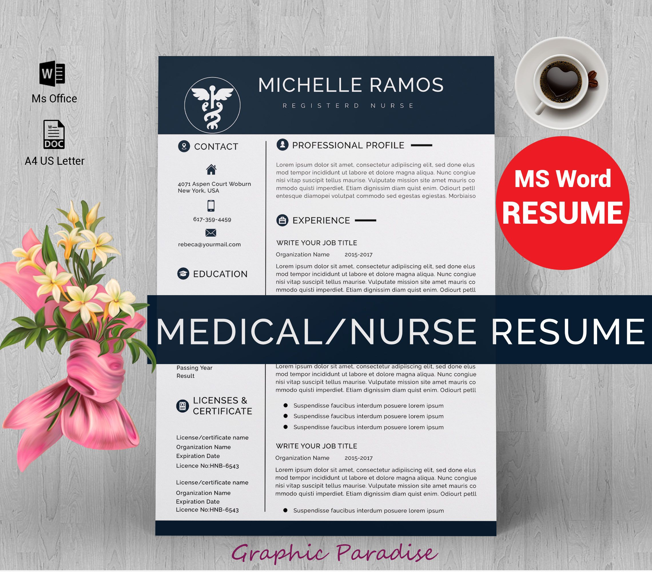 NurseMedical Ms Word Resume Template Resume Template Instant