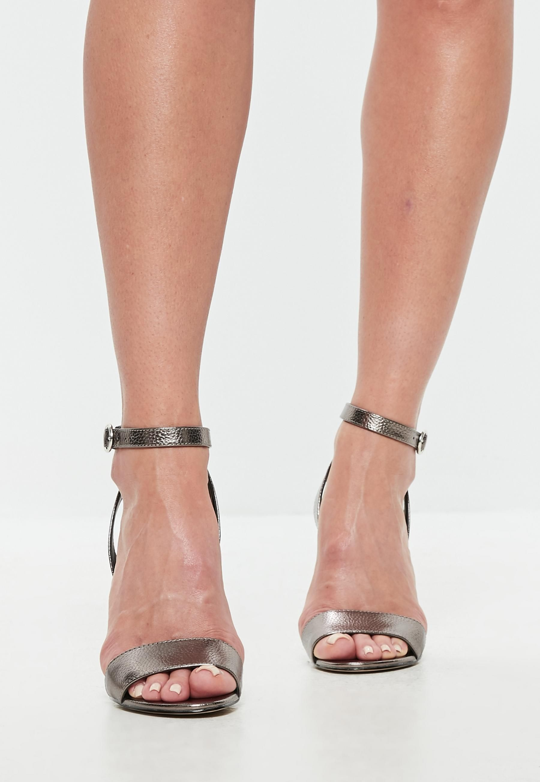Silver Cone Heel Strap Heeled Sandals   Missguided   Ankle