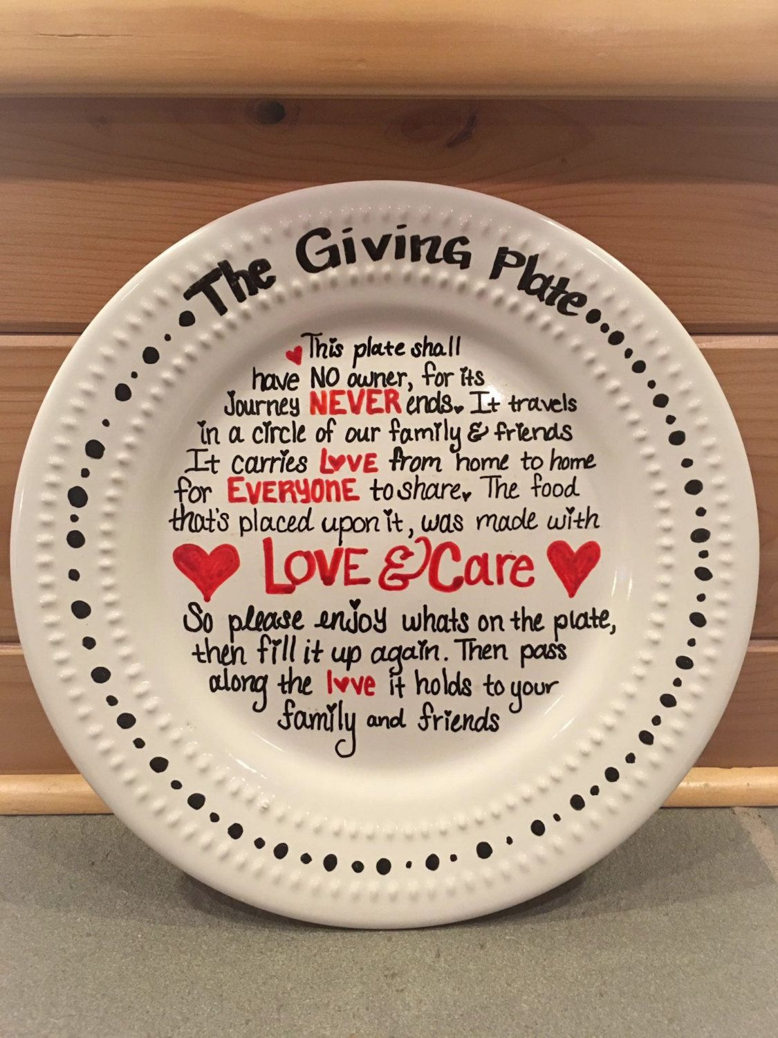 Ceramic Plate With The Giving Plate Poem Hand Written With Acrylic
