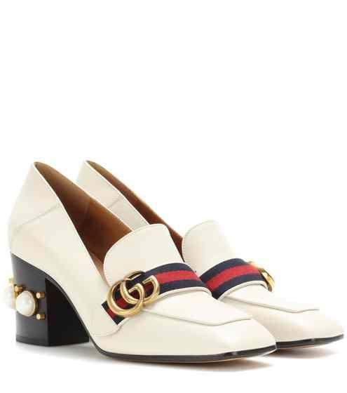 7ff62b7c604 Embellished leather loafer pumps