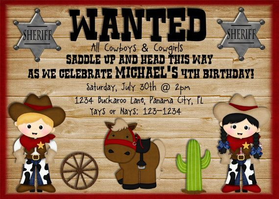 cowboy birthday party invitation - cowgirl birthday invitation, Birthday invitations