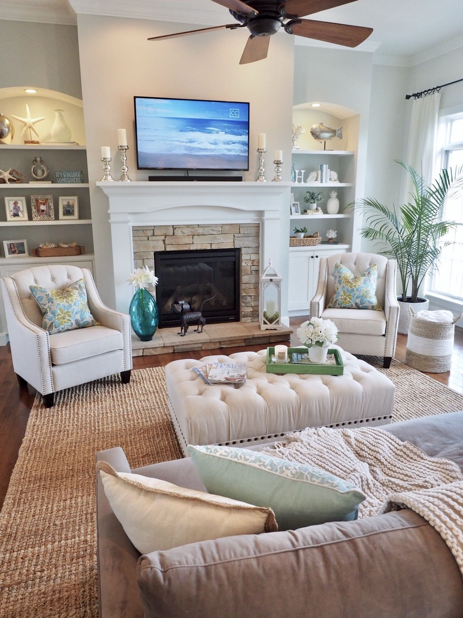 Living Room Family Room Decor Home Decor Fireplace Design But Ins Sh Family Room Decorating Coastal Decorating Living Room Living Room Remodel