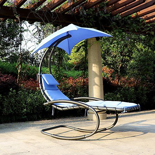 Outstanding Ikayaa Hanging Chaise Lounger Swing With Canopy Air Porch Bralicious Painted Fabric Chair Ideas Braliciousco